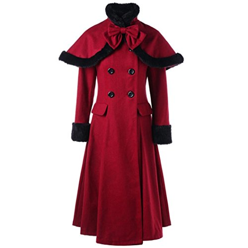 Kinrui Women's Daily Casual Double-Breasted Wool Blend Jacket Fur Collar Slim Trench Long Coat (XL) -