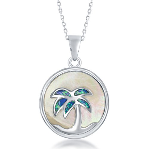 Palm Tree Inspired Silver Sterling (Sterling Silver Mother of Pearl and Created Opal Palm Tree Circle Pendant with 18