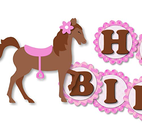 Girl Pony Horse Birthday Banner Party Decoration Supplies for Girl -