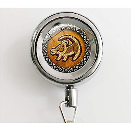 Lion Head Pendant Lion King Simba Jewelry Round Glass Picture Fashion Vintage Retractable Badge Reel with Waterproof ID Holders & Keychain