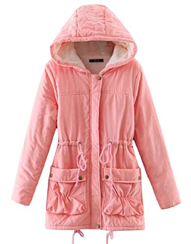 Outwear Spessore Womens Cappuccio Lungo Cappotto Tasca Elastico Caldo Rosa Velluto Xinheo Medio Di qg1qC
