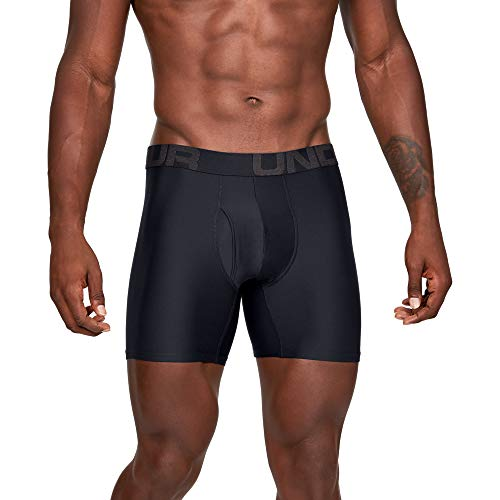 Under Armour mens Tech 6-inch Boxerjock 2-Pack, Black (001)/Black, Large