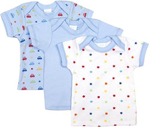 BIG OSHI Baby 3 Pack Lap Shoulder Crewneck Undershirt T-Shirts - PLK-803 - Blue, 3-6 Months -