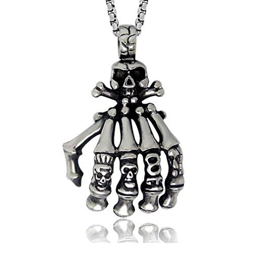 [W-Q Mens Fashion Retro Cool Personality Ghost Hand Punk Pendant Titanium Steel Necklace Sautoir(28
