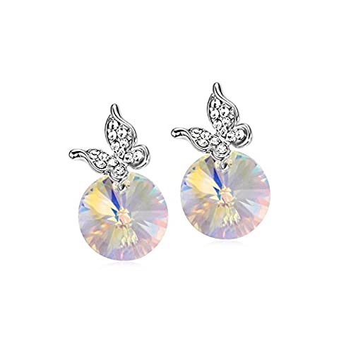 Gorgeous Jewelry Dazzle Colour White Round Crystal Butterfly Diamond Accented Beauty Stud Earring (Dazzle For Xbox)