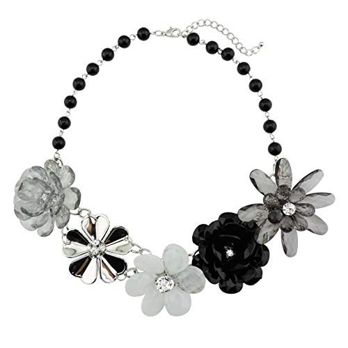 (Bocar 5 Flower Braided Crystal Statement Chunky Necklace Bib Collar Pearl Jewelry for Women (NK-10127-black))