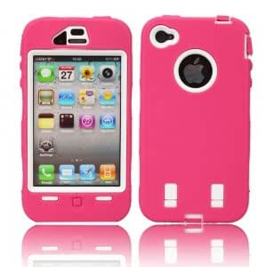 Protective Impact Housing Case with Case Protective Film for iPhone 4 Rose & White