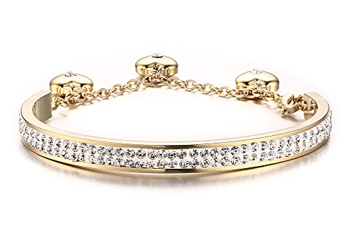 Stainless Steel Gold Plated 2 Row of Crystal Pave Women's Bangle Bracelets with 3 Heart Charm Two Row Pave