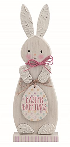 Transpac Wood White Easter Funny Bunny Gang Set of 3