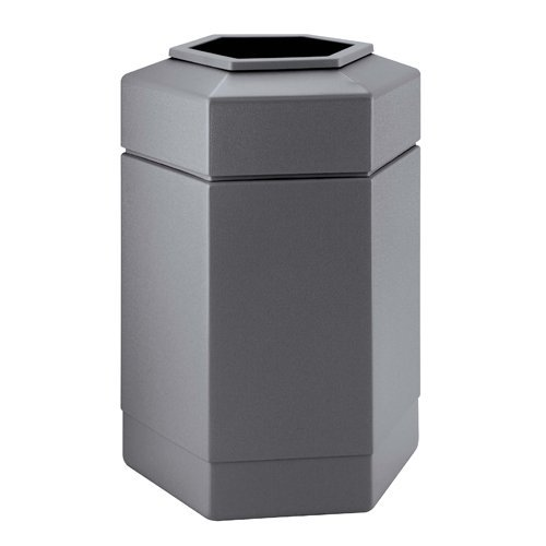 - PolyTec 30 Gallon Hex Waste Container Color: Gray