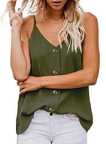 FARYSAYS Women's Casual Sleeveless Shirts Blouses Loose V Neck Button Down Strappy Tank Tops Green Small