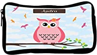 Rikki Knight Audra Name Cute Pink Owl on Branch with Personalized Name Neoprene Pencil Case (dky-Neo-pc25437)