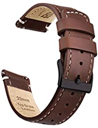 Ritche 20mm Quick Release Leather Watch Band Compatible with Samsung Gear S2 Classic Watch Brown Genuine Leather Watch Bands for Men