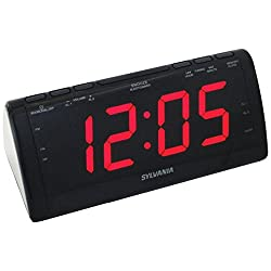 Sylvania SCR1206B Dual Alarm Clock Radio with 1.8-Inch Jumbo Digits (Certified Refurbished)