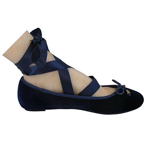 On Ladies Up Flat Navy Tie Blue Ballerinas Spot Leg gqCwOZvZx