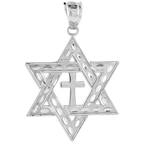 14k White Gold Star of David Cross Medium Jewish Charm Pendant