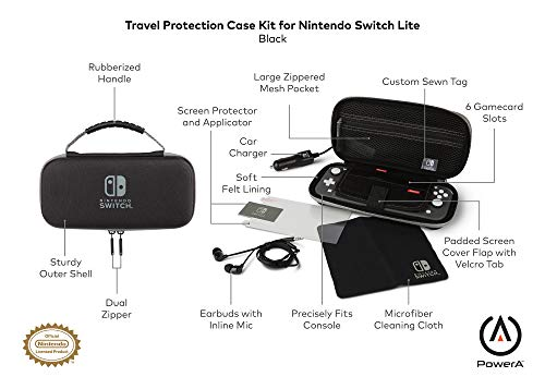 PowerA Travel Protection Case Kit for Nintendo Switch Lite - Includes Car Charger, Earbuds, Cleaning Cloth, Screen Protector + Applicator - Nintendo Switch