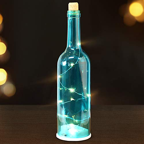 Bright Zeal 12 LED Wine Bottles with Lights Inside Them (Blue Glass Bottle, 6hr Timer) - Cork Lights for Wine Bottles with Timer - Decorative Glass Bottles for Wedding - Lighted Wine Bottle Decor