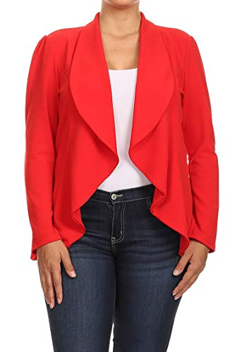Blazer Shearling - Solid Print Plus Size Casual Comfy Open Front Jacket Blazer/Made in USA Red XL