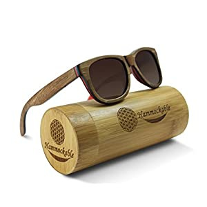 Hammockable Handmade Natural Wood Polarized Sunglasses that Float! (Brown Maple - Puzzle, Brown)