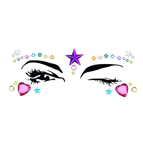 Inverlee 1 Sheet Facial Gems Adhesive Glitter Jewel Tattoos Stickers Wedding Festival Party Body Makeup (F5) -