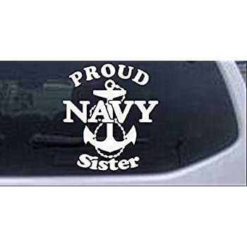 Proud Navy Sister Hibiscus Flowers Car or Truck Window Laptop Decal Sticker