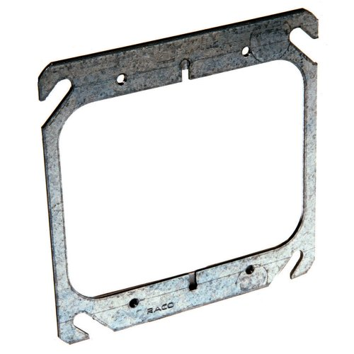 Hubbell-Raco 791 Flat 4-Inch Square Mud-Ring for 2 -