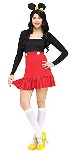 Mickey And Minnie Mouse Halloween Costumes Adults (Fun World Costumes Women's Miss Mikki Adult Costume, Red/Black, Medium)