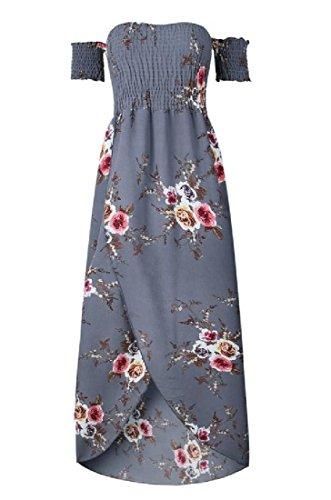 Coolred-femmes Enveloppent La Mode En Forme Divisée Floral Gris Robe De Plage Maxi Sans Bretelles