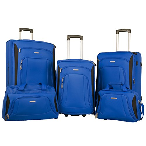 Merax Newest Softshell Deluxe Expandable Rolling Luggage Set,  Blue/Black,  5 Piece by Merax