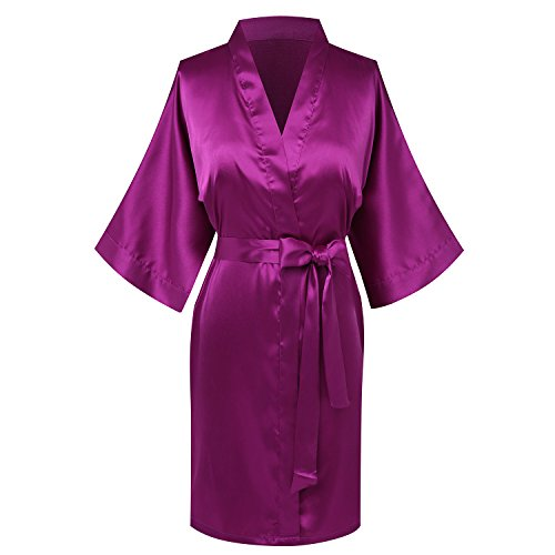 Goodmansam Women's Simplicity Stlye Bridesmaid Wedding Party Kimono Robes, Short,Jam Purple4,XXX-Large]()