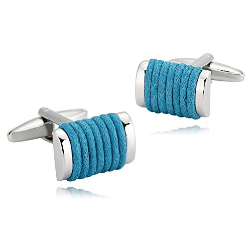 (EoCot Mens Jewelry Stainless Steel Blue Stripes Rectangle Loop Cufflinks 1.7x1.2CM )