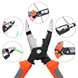 Baulody 6-in-1 Multi-Function Pliers Wire Stripper Long Nose Pliers Hand Tool Combination Wire Stripping and Reaming Pliers for Electricians (Multicolor)