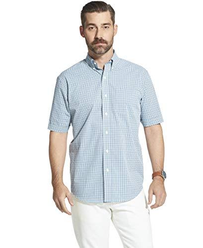- Arrow 1851 Men's Hamilton Poplins Short Sleeve Button Down Plaid Shirt, nile Green, XX-Large