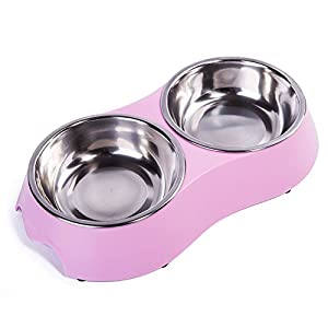 KLASKWARE Double Pet Bowl 5 oz x 2 Stainless Steel Dog Bowl With Non-Skid Rubber Feet Food Water Dish Feeder for Dogs Cats and Pets (Small, Pink)