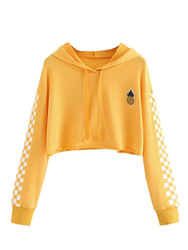 MakeMeChic Women's Pineapple Embroidered Hoodie Plaid Crop Top Sweatshirt Yellow (Yellow Embroidered Sweatshirt)