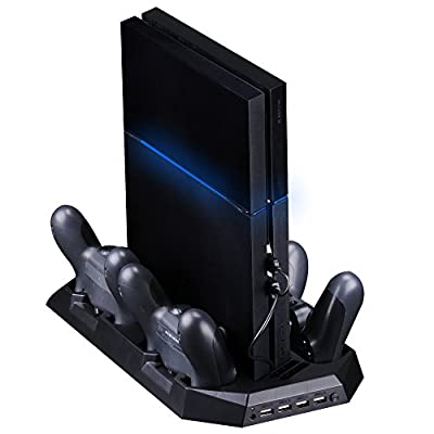 SmaAcc Vertical Stand Dual Cooler Fans For PS4 Playstation 4 Console + Four Charging Stations for DualShock4 PS4 Controllers - Best Cooling and Charging System for PS4