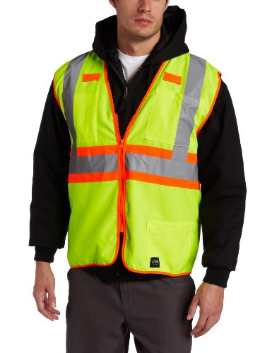 Regular Visibility Large Hi - Key Apparel Men's Solid Vest High Visibility Reflective Stripe Zip Front, Hi-vis, Large-Regular