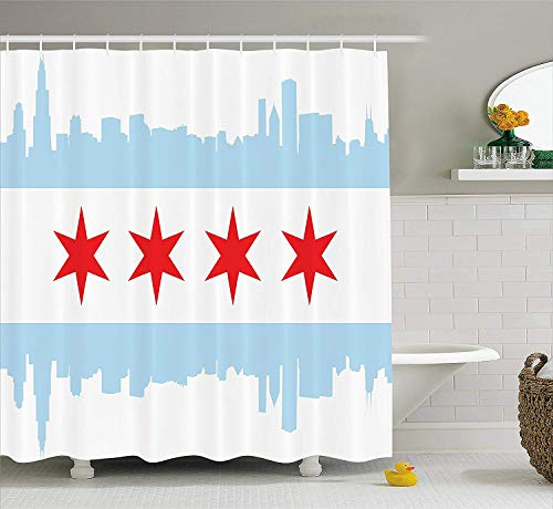 SPXUBZ Chicago Skyline City of Chicago Flag with High Rise Buildings Scenery National Cloth Red White Baby Blue Shower Curtain Waterproof Bathroom Decor Polyester Fabric Curtain Sets with Hooks]()