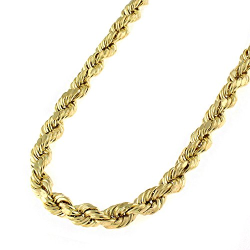Gold Twisted 14k Rope (14k Yellow Gold 4.5mm Hollow Rope Diamond-Cut Link Twisted Chain Necklace 24
