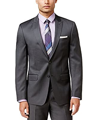 Calvin Klein Men's Suit X Slim Fit 2 Piece 100% Wool 2 Button Side Vents Flat Front Pants Steel Grey
