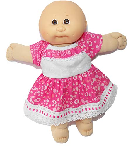 Pink Lace Dress fits Cabbage Patch KIDS 14 inch doll or preemie clothes handmade- NO DOLL!
