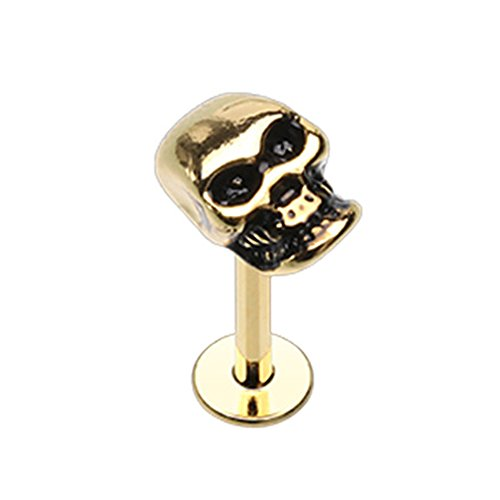 Inspiration Dezigns 16G 8mm Gold Labret Monroe Stud Skull Head Piercing Jewelry - Gold Skull Labret
