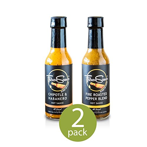 Fresco Sauce - Combo Pack - Fire Roasted Pepper Blend - Chipotle & Habanero - Flavorful Hot Sauces - All Natural - Extract Free - Gluten Free - 5 fl oz from Fresco Sauce