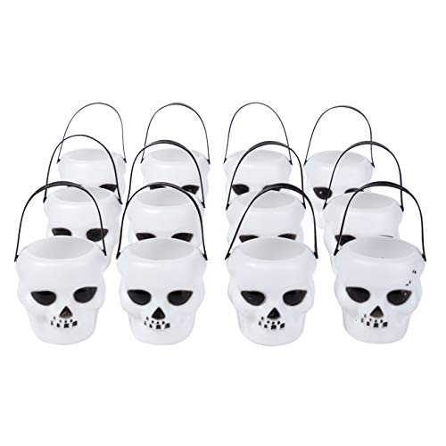 Xena Halloween Decorations 12 Pack Mini Skull Set 2 Inch White Decoration Home Office Parties Kids Party Supplies Fun Decor LED Tea Light Holder Trick or Treat