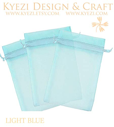 200 Pcs Light Blue 2x3 Sheer Drawstring Organza Bags Jewelry Pouches Wedding Party Favor Gift Bags Gift Bags Candy Bags [Kyezi Design and Craft]