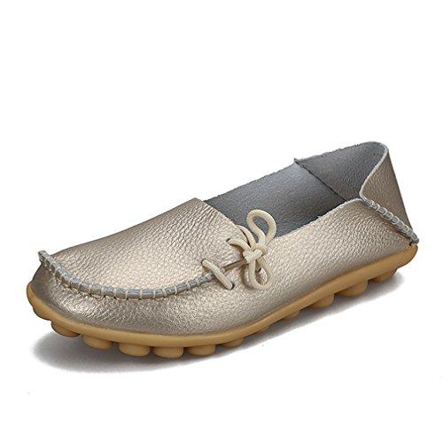 KEESKY Damen Leder Loafers Aushöhlen Casual Slip On Driving Schuhe 03 Gold