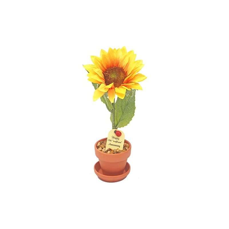 silk flower arrangements 18th year wedding anniversary gift, potted (artificial) sunflower desk rose, perfect present for wife or husband