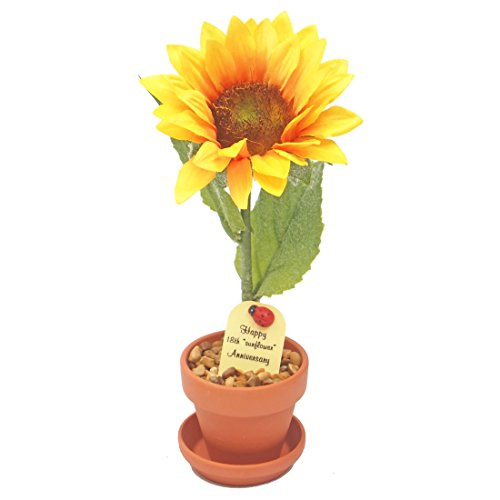 (18th Year Wedding Anniversary Gift, Potted (artificial) Sunflower Desk Rose, Perfect Present for Wife or Husband)