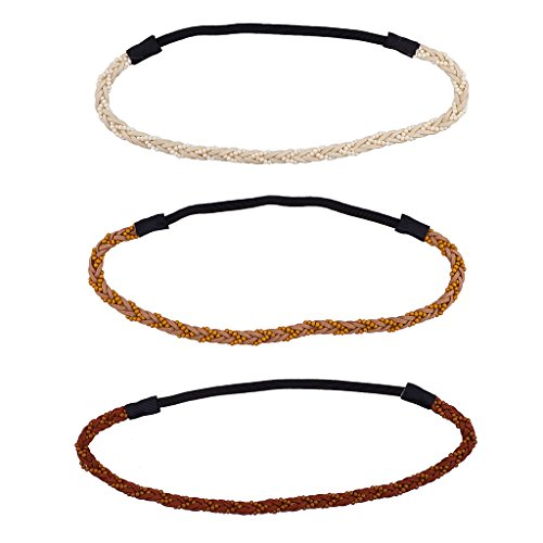 Lux Accessories Boho Beaded braid head wraps Brown Faux Ivory (3PC) - Beaded Braids